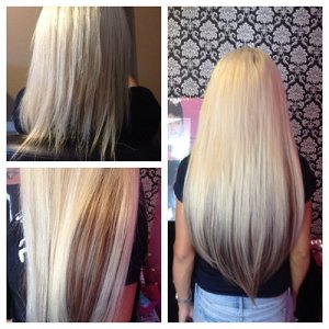 extensions blonde before and after